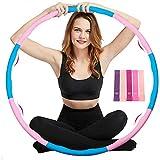 trounistro Fitness Hoola Hoop,Massage Hoola Hoop Reifen Einstellbares Gewicht und Größe für Sport/Zuhause/Bauchformung mit 5-Farben-Silikon-Spannband-4 Blauen und 4 Rosa Hoola Hoop Reifen