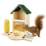 MIXXIDEA Wooden Squirrel Feeder Box, Multifunctional Squirrel Feeding House with Cup, Easy to Fill,...