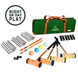 tenalach LED Glow-in-The-Dark Croquet | Includes LED-Lit Croquet Balls, Stakes, and Wickets, and 4 Hardwood Mallets | Premium Carrying Case