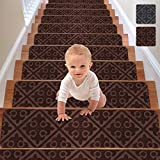 RIOLAND Stair Treads Carpet Non-Slip Indoor 15PCS Stair Runners for Wooden Steps Modern Stair Treads Rugs for Kids Elders and Dogs, 8' X 30', Brown