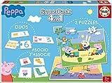 Educa- Superpack Peppa Pig Pack de Domino, Identic y 2 Puzzles, Juego de Mesa, Multicolor (16229)