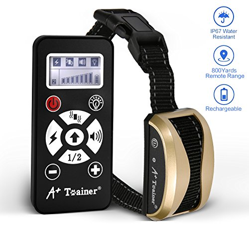 A+ Trainer 800 Yards Range Remote Dog Training Collar Rechargeable and Waterproof Dog Shock Collar with Beep, Vibration and Shock Dog Collar for Small, Medium and Large Dogs