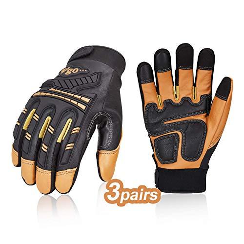 Vgo 3 paia guanti da lavoro uomo, guanti in pelle, guanti da meccanico, antivibrazione, caldi,...