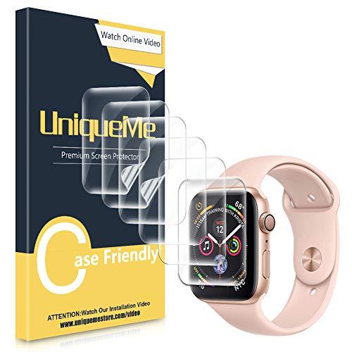 UniqueMe [6 Pezzi] Pellicola Protettiva per Apple Watch Series 5/4 44mm, Apple Watch 42mm (Series 3) Pellicola, [Film Flessibile] Soft HD Clear Anti-Scratch con Garanzia sui sostituzioni a Vita