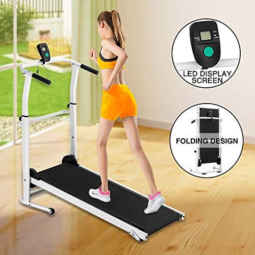 Fitnessclub Folding Manual Treadmill Walking Machine Incline Cardio Fitness Running Exercise Adjustable Height Slope adjustment