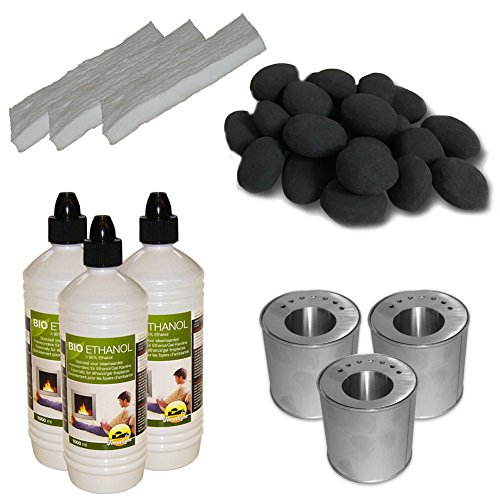 3 liters Set Ceramic Stones 24Stk Black + 3L Bio Ethanol + 3 Log Cans with saving plates + 3 and Ceramic Sponges for Gel Fireplace Table Fire Deco Fireplace Bio Ethanol Fireplace