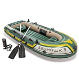 Intex Seahawk 3, 3-Person Inflatable Boat Set with Aluminum Oars and High Output Air -Pump (Latest Model)