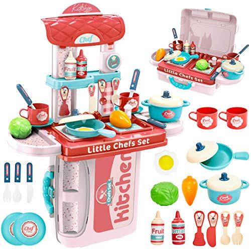 BUYGER Pentole Cucina Giocattolo per Bambini Cibo Finto Alimenti Giocattolo per Bambini 3 Anni, Giochi Accessori Cucina, 3 in 1