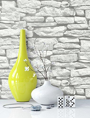 Steintapete in Weiß | schöne edle Tapete im Steinmauer Design | moderne 3D Optik für Wohnzimmer, Schlafzimmer oder Küche inklusive der Newroom-Tapezier-Profi-Broschüre, mit Tipps für perfekte Wände