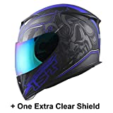 1STorm Motorcycle Full Face Helmet Skull King Matt Blue+ One Extra Clear Shield, Size Large (57-58 CM,22.4/22.8 Inch)