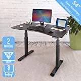 Seville Classics AIRLIFT Pro S3 54' Solid-Top Commercial-Grade Electric Adjustable Standing Desk (51.4' Max Height) Table, Black/Black