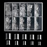 500PCS Short Nail Tips for Acrylic Nails - Buqikma Clear Lady French Acrylic Style False Nails Short Nail Acrylic Artificial Tip Manicure with Box ( Clear )
