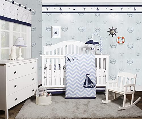Bumperless 5 Pieces OptimaBaby Nautical Sailor Baby Nursery Crib Bedding Set