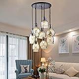 MoreChange Vintage Chandelier Hanging Light Kitchen Island, Cognac Glass Cluster Pendant Lighting Ceiling Lights Fixtures with Round Plate for Dining Room Cafe Bar 8 Lights