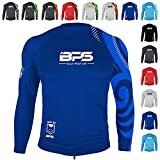 BPS Mens Longsleeve Loose Fit Rashguard UV 50+ Sun Protection for Outdoor, Water Sports, Fishing, and Swimming Activities (Patterned Navy Blue, L)
