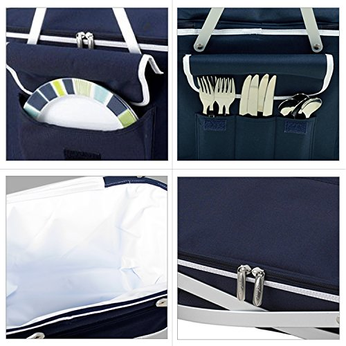 Picnic at Ascot Patented Collapsible Insulated Picnic Basket Equipped with Service For 4- Designed and Assembled in USA