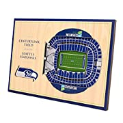 "Unique 3D stadium design hand assembled from multiple layers of engineered wood Dimensions: 12"" x 8"" x 3/8'' Officially licensed picture comes ready to hang or display and includes snap in stand for desktop display Seattle Seahawks team colors stand ..."