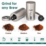 JavaPresse Manual Coffee Grinder with Adjustable Setting - Conical Burr Mill & Brushed Stainless Steel Whole Bean Burr Coffee Grinder for Aeropress, Drip Coffee, Espresso, French Press, Turkish Brew 35