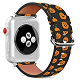 Compatible with Apple Watch - 38mm / 40mm (Serie 5,4,3,2,1) Leather Wristband Bracelet with Stainless Steel Clasp and Adapters - Halloween