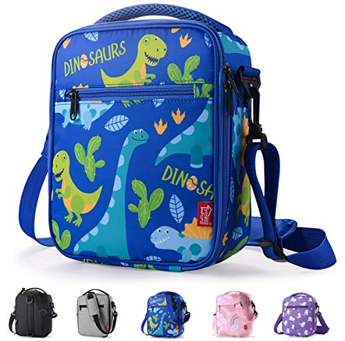 Kids Lunch box Insulated Soft lunch Bag Mini Cooler Thermal Meal Tote Kit with Handle and Pocket for Boys Cute Dinosaurs Blue Practical Gift Idea