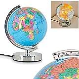 Globe terrestre lumineux Globus en métal chromé...
