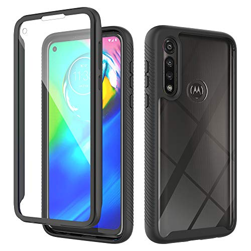 MMY Moto G Power 2020,Built-in Screen Protector, Heavy Duty Shockproof Anti-Slip Full-Body Protective Phone Cover Case with Clear Backplate,Slim Fit for Motorola G Power 2020(Black+Clear)