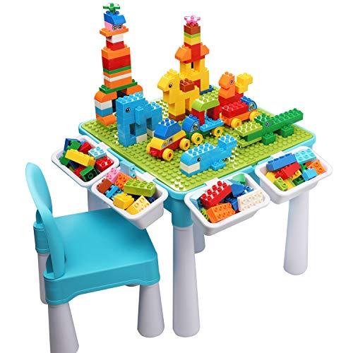 burgkidz Tavolo Multi-attivit per Bambini 5 in 1 - 128 Pezzi di Grandi Blocchi di Costruzione Giocattoli da Compatibili, Tavolo da Gioco Sabbia e Acqua con Sedia e Contenitore, Blu