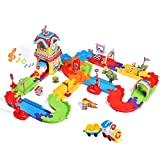 FUN LITTLE TOYS 189 PCs Train Sets with Variable Railway Tracks, Electric Toy Trains with Lights and Sounds, 3D Puzzles Train Track Accessories, Toy Train Set for Kids