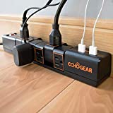 Echogear Rotating Surge Protector Power Strip with 2 USB Ports & 6 Rotating AC Outlets - 1080 Joules of Heavy Duty Surge Protection with Long Power Cord & Wall Mounting Holes