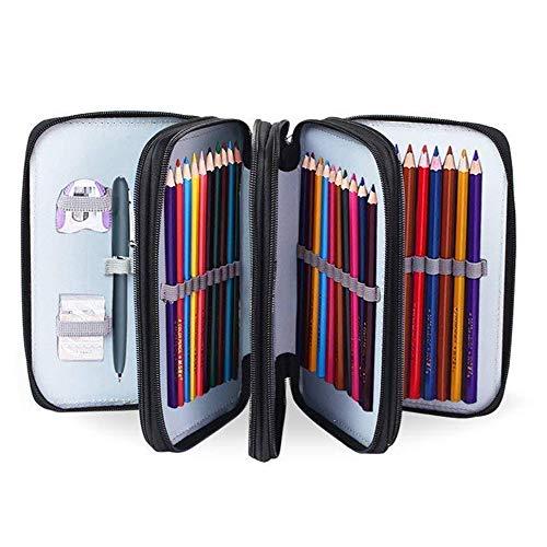 Astuccio portamatite per studenti a 72 slot, astuccio con serratura, astuccio per matite (nero)
