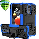 RioGree LG Aristo 2 Case, LG Aristo 3/Rebel 4 LTE/Aristo 2 Plus/Tribute Dynasty/Empire/Zone 4/Phoenix 4/Fortune 2/Risio 3/K8 Plus + 2018 Phone Case, with Screen Protector Kickstand Boys Girls, Blue