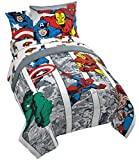 Jay Franco Marvel Avengers Comic Cool 7 Piece Full Bed Set - Includes Comforter & Sheet Set - Bedding Features Captain America, Spiderman, Iron Man, Hulk, Thor - Super Soft (Official Marvel Product)