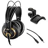 AKG K 240 Studio Professional Semi-Open Stereo Headphones with Auray Headphone Holder and 25'...