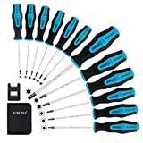 Acroma 12-Piece Magnetic Torx Screwdriver Set with A Magnetizer/Demagnetizer T5 T6 T7 T8 T9 T10 T15 T20 T25 T27 T30 T40 Star Screwdrivers for Phone, Computer, Automobile and Home Appliances Repairing