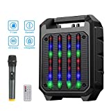 NASUM PA System Karaoke Machine, Portable Speaker System with Wireless Microphone, LED Light, and Remote Control, Bluetooth Karaoke System for Karaoke, Wedding, Party, Church, Lecture