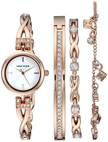 Anne Klein Women's Premium Crystal Accented Rose...