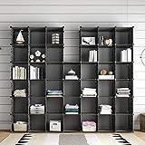 KOUSI 40-Cubes Storage Organizer, DIY Portable Modular Bookshelf with Metal Panel, Plastic Shelving...