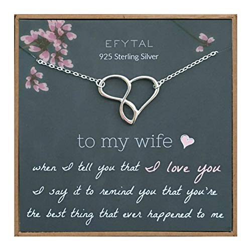 EFYTAL Wife Gifts, Wife Birthday Gift Ideas For Her, Romantic Sterling Silver Infinity Heart Necklace Jewelry for Women, Cute Anniversary / Valentines Day Present