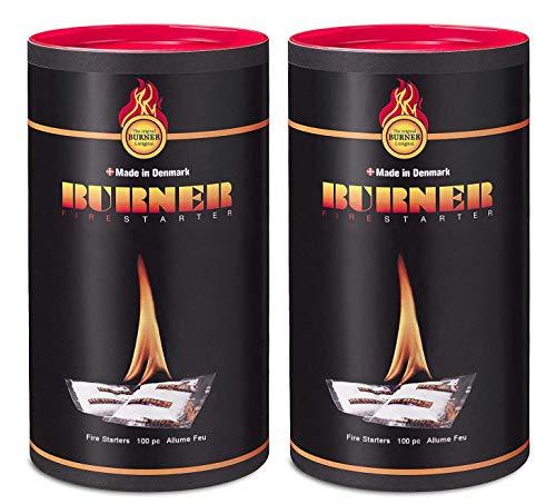 Burner Encendedor de fuego original 200 pcs - inciador de fuego en aceite Bio para BBQ, Fuegos, Estufas, Hornos y Fumadores - 2 x Barriles de 100 bolsas
