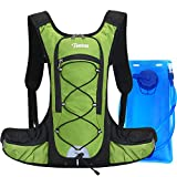Tonitrus Hydration Backpack with 70oz Water Bladder, 2 Waist Pouch Water Pack for Man Women Kid, Lightweight Nylon Hydration Pack for Hiking Camping Cycling Running (Green)