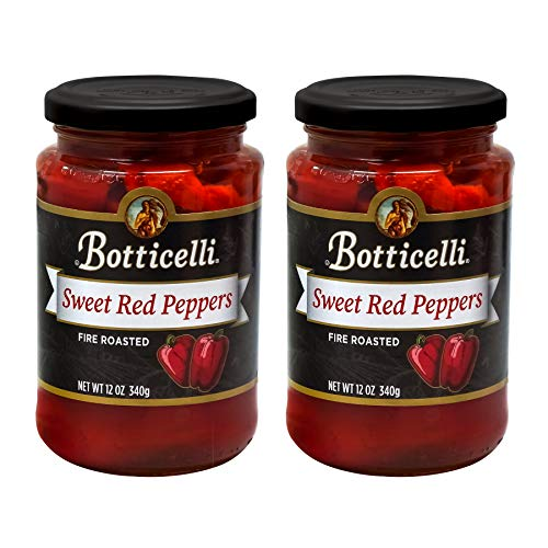 Botticelli 12oz Fire Roasted Red Peppers (Pack of 2) - Ready-to-Use Sweet & Tender Red Roasted Peppers in a Jar for Sandwiches, Salad, Pizza & Any Recipes