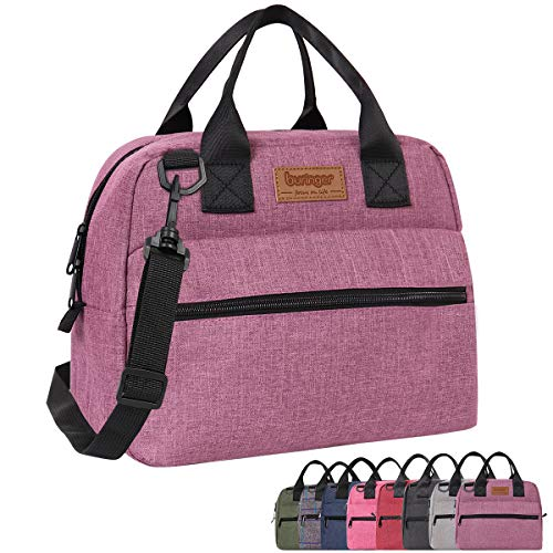 Buringer Insulated Lunch Bag Box Cooler Totes Handbag with Front and Back Pockets For Man and Woman Work Shopping (Purple with Shoulder Strap)