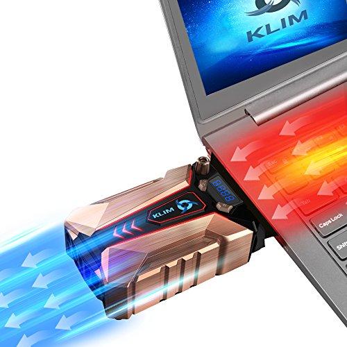 KLIM Cool + Refroidisseur PC Portable en Métal - Le Plus Puissant - Extracteur d' Air USB pour Refroidissement Immédiat - Ventilo [ Nouvelle Version 2021 ]