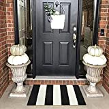 LEEVAN Cotton Print Area Rug 18' x 28' Black and White Striped Doormat Machine Washable Woven Fabric Non-Slip Doormat for Kitchen Floor Laundry Living Room