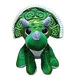 dino Peluche de Dinosaurio Triceratops - Calidad Super Soft (28cm, Verde/Gris)