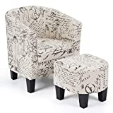 Giantex Accent Chair with Ottoman, Modern Upholstered Barrel Accent Chair Furniture Set, Linen Fabric, Soft Sponge, Firm Wood Frame, w/High Arms and Deep Seat, Ideal for Living Room, Bedroom, Garret