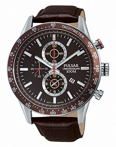 Pulsar Herren-Armbanduhr Chronograph Quarz Leder PF8443X1