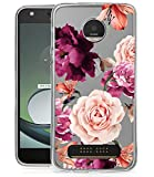 BAISRKE Moto Z2 Play Case, Moto Z2 Force Case with Flowers Slim Shockproof Clear Floral Pattern Soft Flexible TPU Back Cove for Moto Z2 Play / Z2 Force [Purple]