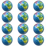 Globe Stress Balls 1 Dozen Earth Foam Squeeze Balls with World Map 2.5 Inch World Stress Ball Earth Stress Relief for Class/Pressure Relief/Party Favor (Globe)