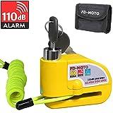 FD-MOTO 110dB Antivol Cadenas Moto Bloque Disque Alarme 7mm Jaune + 1.5m Câble + Sac Gratuit pour...